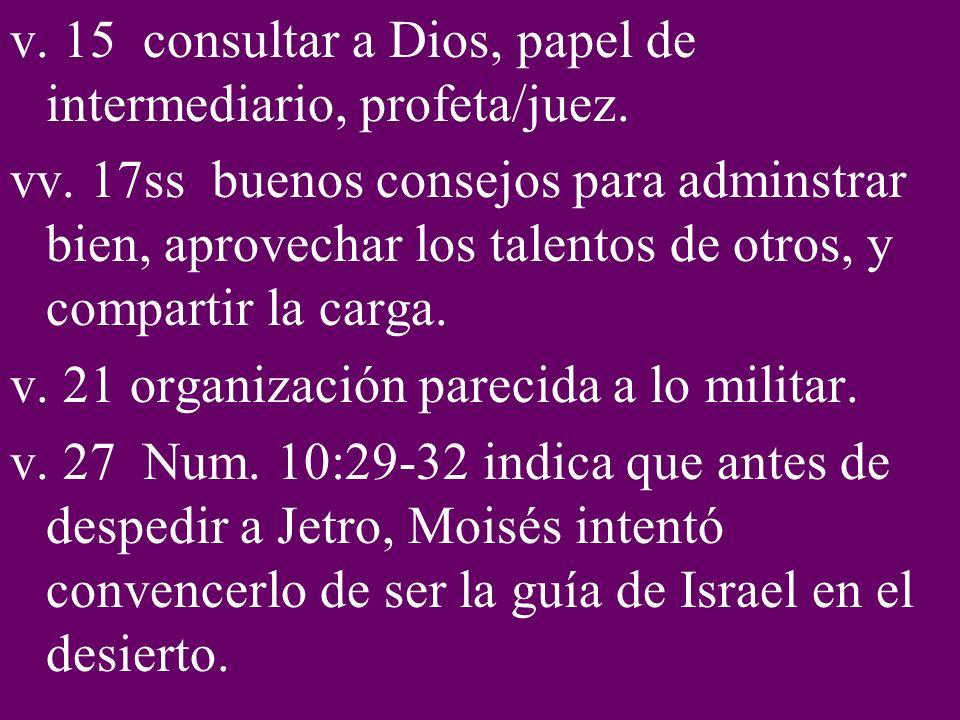 v. 15 consultar a Dios, papel de intermediario, profeta/juez.
