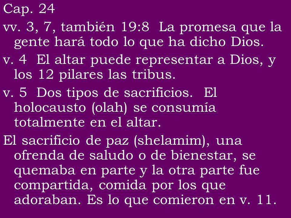 Cap. 24 vv. 3, 7, también 19:8 La promesa que la gente hará todo lo que ha dicho Dios.