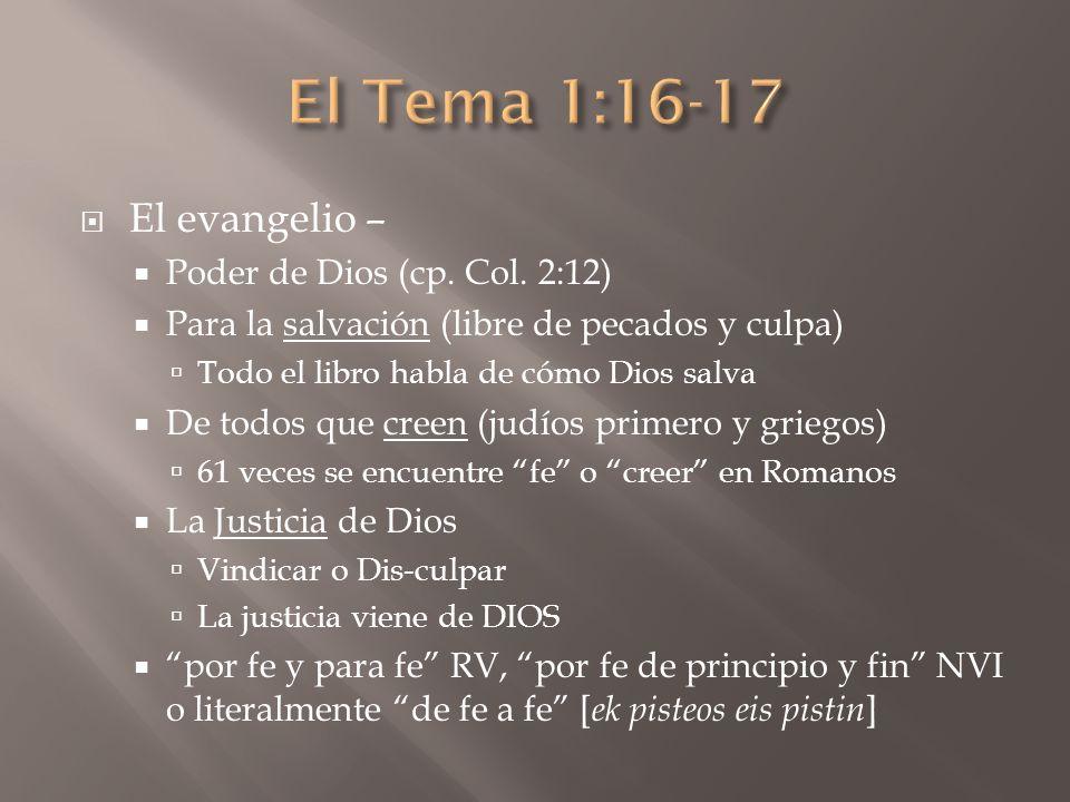 El Tema 1:16-17 El evangelio – Poder de Dios (cp. Col. 2:12)
