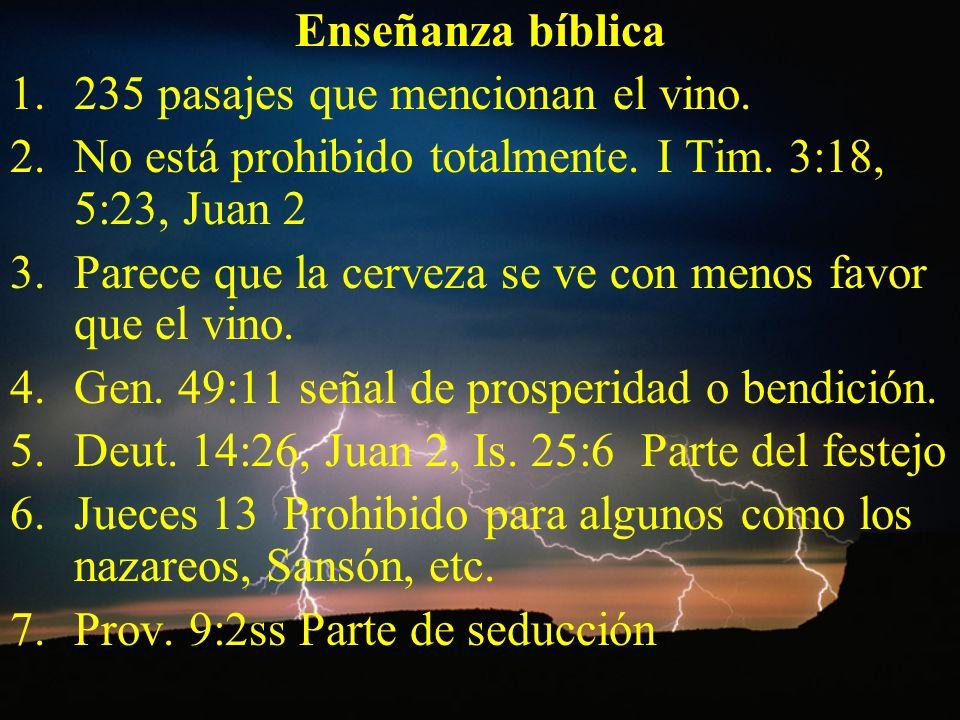 Enseñanza bíblica 235 pasajes que mencionan el vino. No está prohibido totalmente. I Tim. 3:18, 5:23, Juan 2.