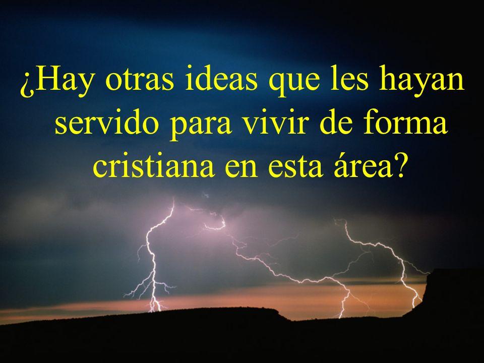 ¿Hay otras ideas que les hayan servido para vivir de forma cristiana en esta área
