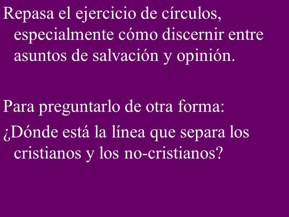 Repasa el ejercicio de círculos, especialmente cómo discernir entre asuntos de salvación y opinión.