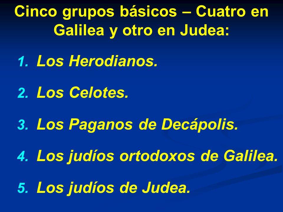 Cinco grupos básicos – Cuatro en Galilea y otro en Judea:
