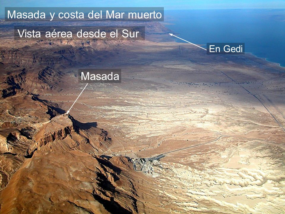 Masada and Dead Sea shore aerial from south