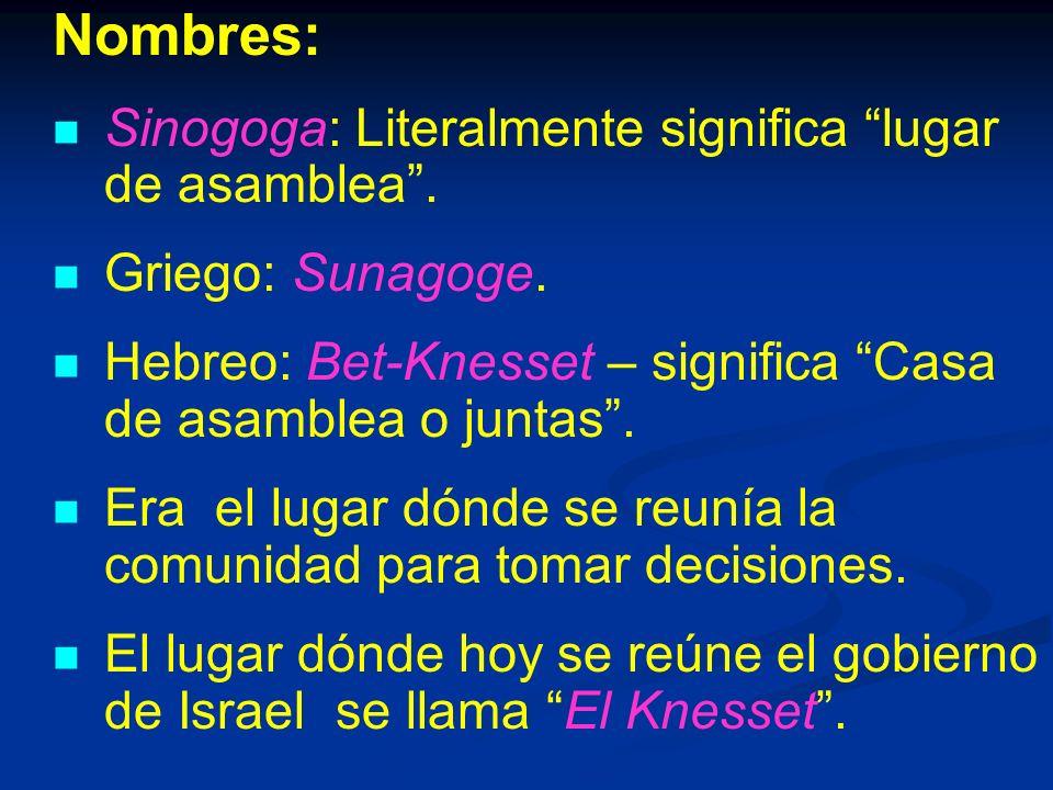 Nombres: Sinogoga: Literalmente significa lugar de asamblea .