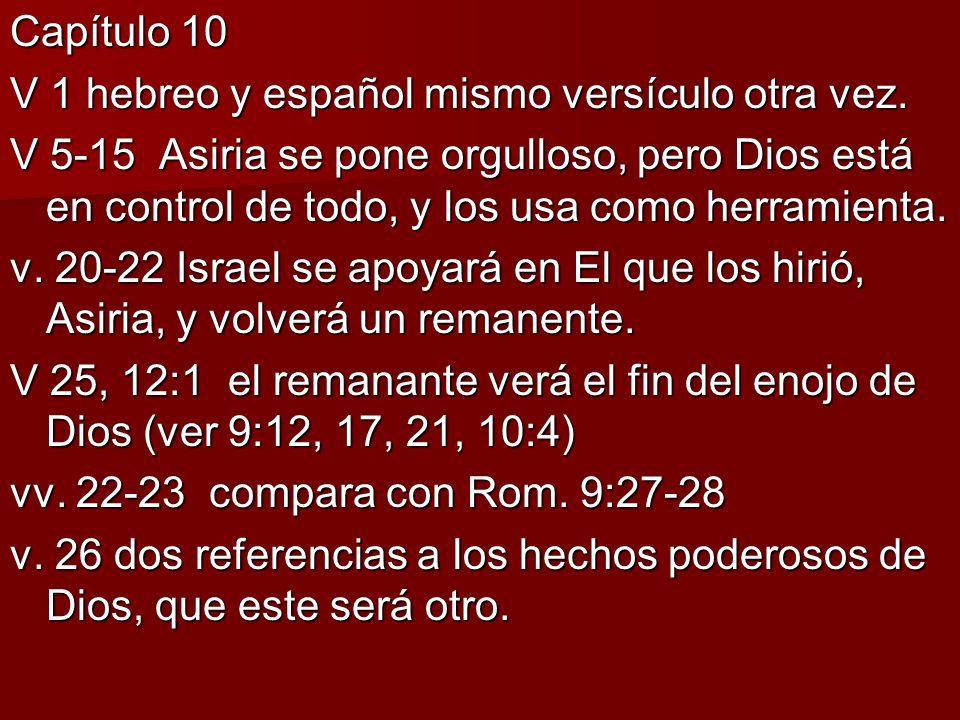 Capítulo 10 V 1 hebreo y español mismo versículo otra vez.