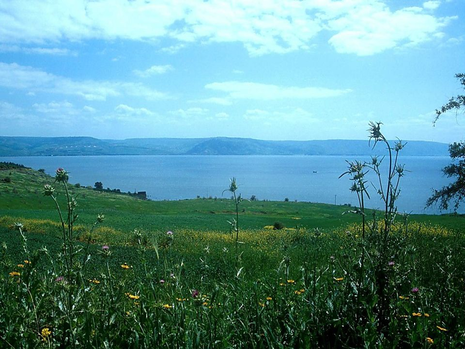 Mt of Beatitudes and Sea of Galilee to southeast