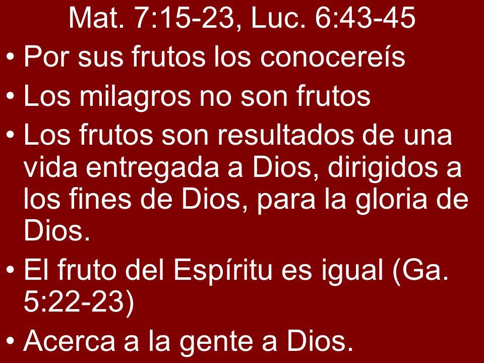 Mat. 7:15-23, Luc. 6:43-45 Por sus frutos los conocereís. Los milagros no son frutos.