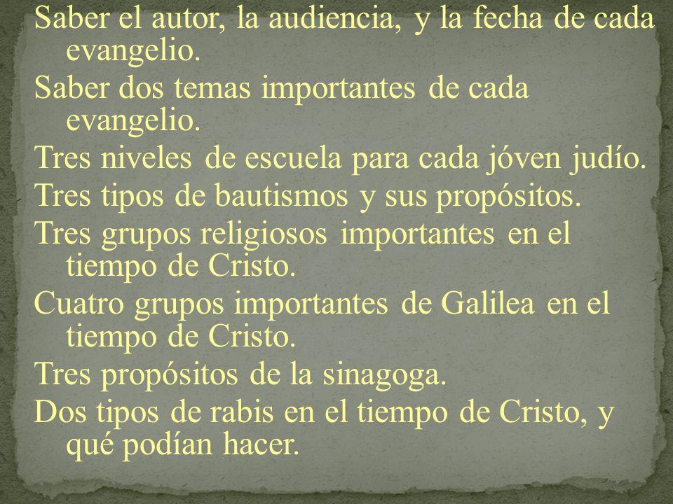 Saber el autor, la audiencia, y la fecha de cada evangelio