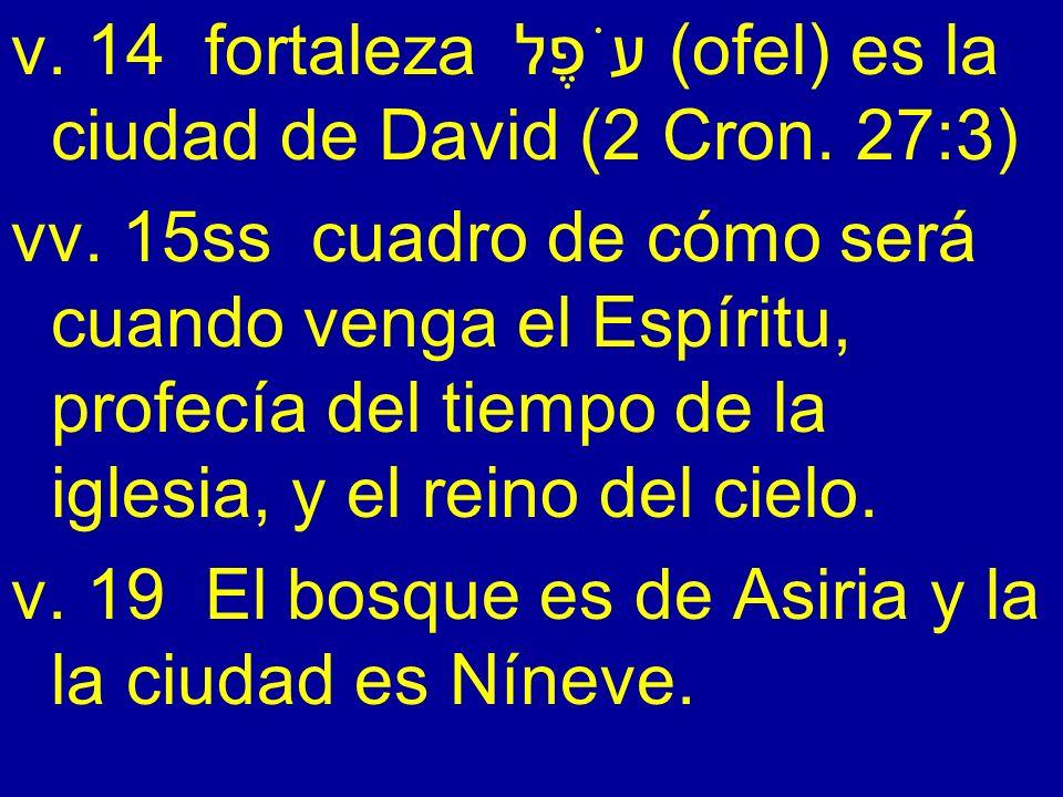 v. 14 fortaleza עֹפֶל (ofel) es la ciudad de David (2 Cron. 27:3)
