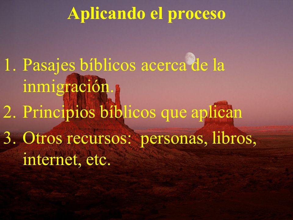 Aplicando el procesoPasajes bíblicos acerca de la inmigración.