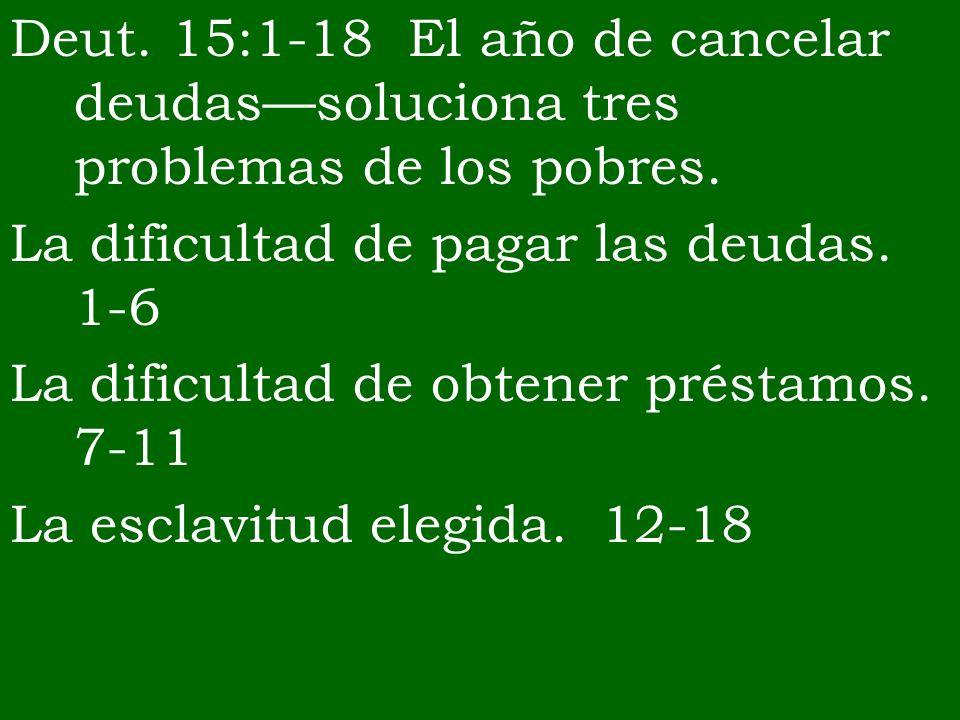 Deut. 15:1-18 El año de cancelar deudas—soluciona tres problemas de los pobres.