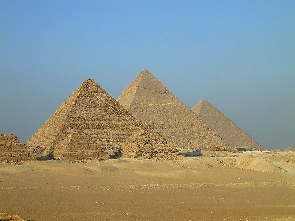 Three pyramids with smaller ones