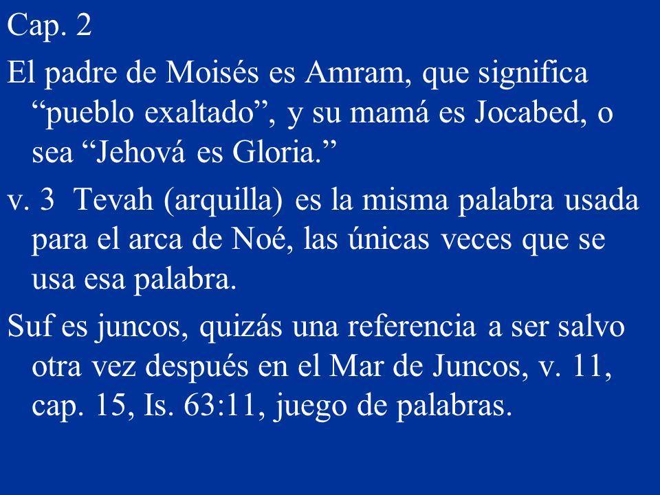 Cap. 2 El padre de Moisés es Amram, que significa pueblo exaltado , y su mamá es Jocabed, o sea Jehová es Gloria.