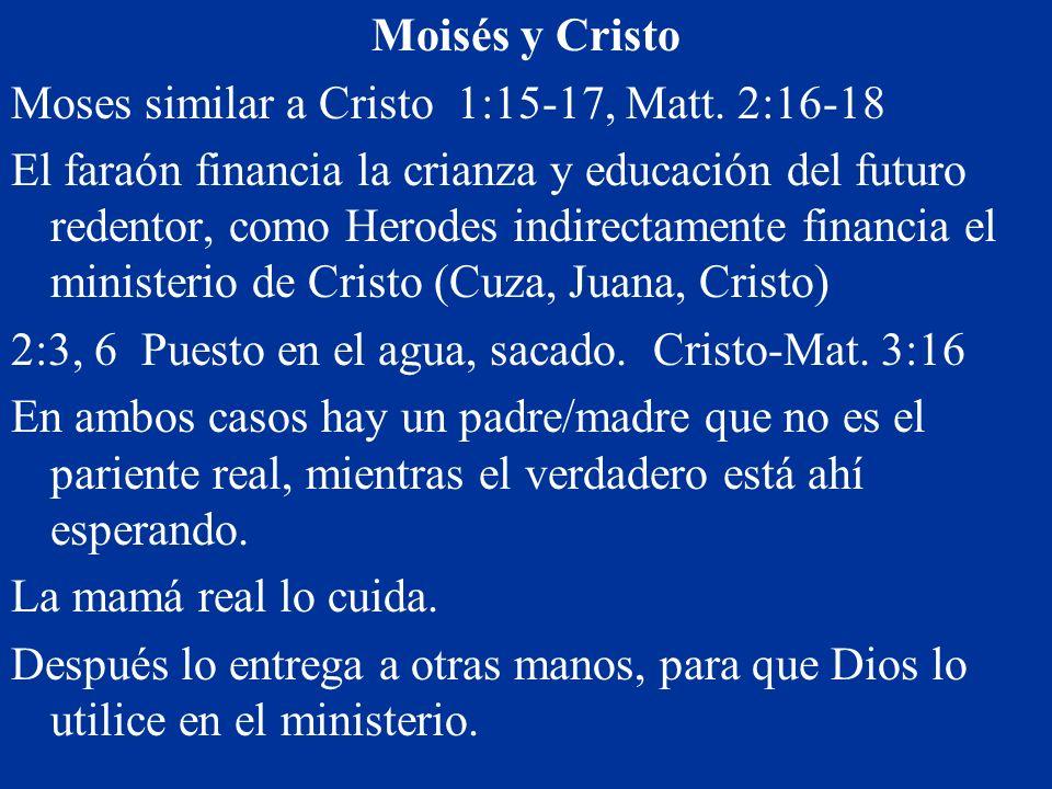 Moisés y Cristo Moses similar a Cristo 1:15-17, Matt. 2:16-18.