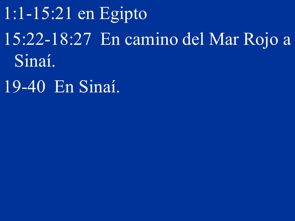 1:1-15:21 en Egipto 15:22-18:27 En camino del Mar Rojo a Sinaí. 19-40 En Sinaí.