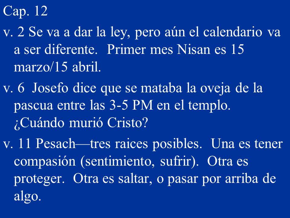 Cap. 12 v. 2 Se va a dar la ley, pero aún el calendario va a ser diferente. Primer mes Nisan es 15 marzo/15 abril.