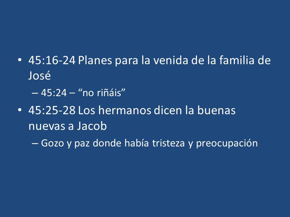 45:16-24 Planes para la venida de la familia de José