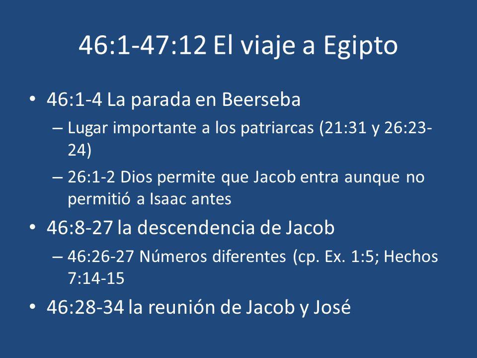 46:1-47:12 El viaje a Egipto 46:1-4 La parada en Beerseba