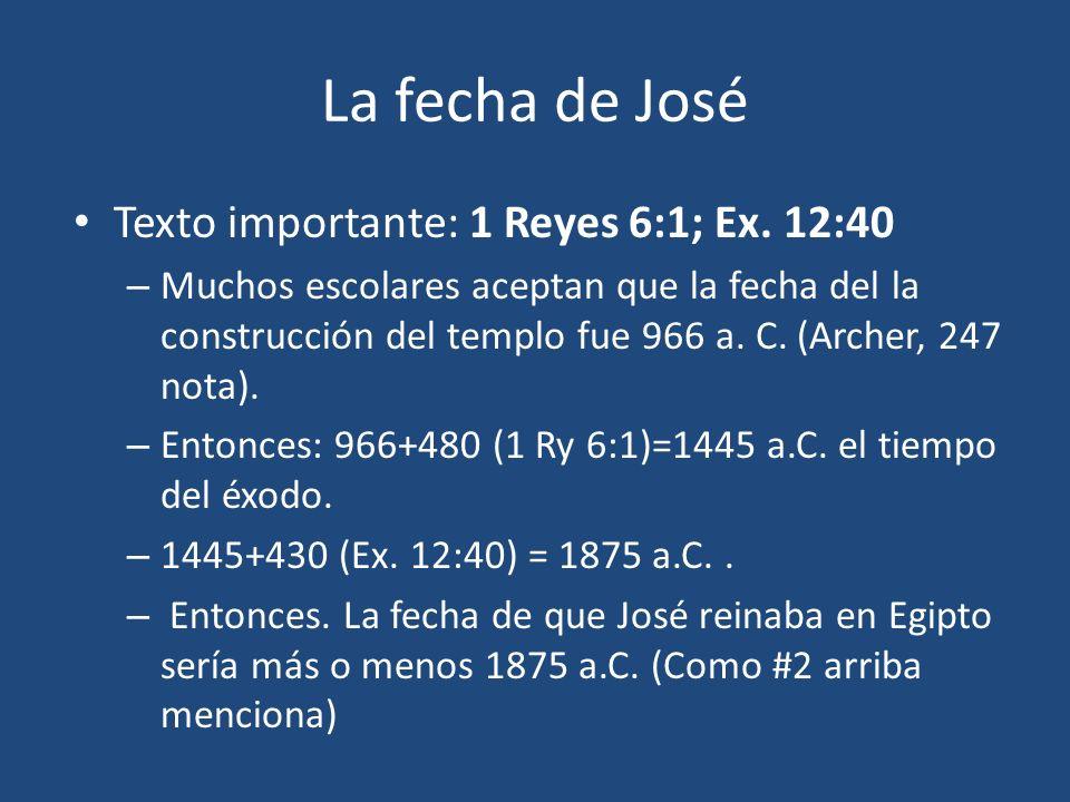 La fecha de José Texto importante: 1 Reyes 6:1; Ex. 12:40