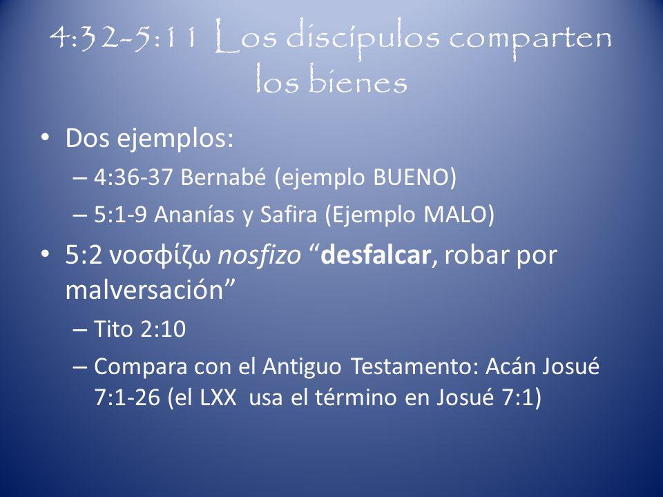 4:32-5:11 Los discípulos comparten los bienes