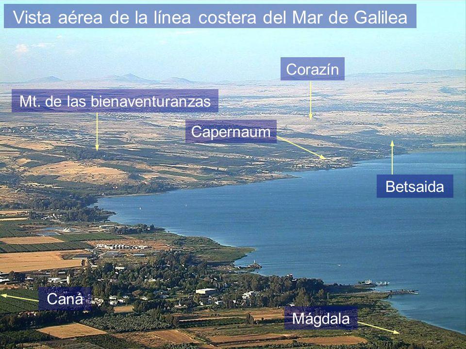 Vista aérea de la línea costera del Mar de Galilea