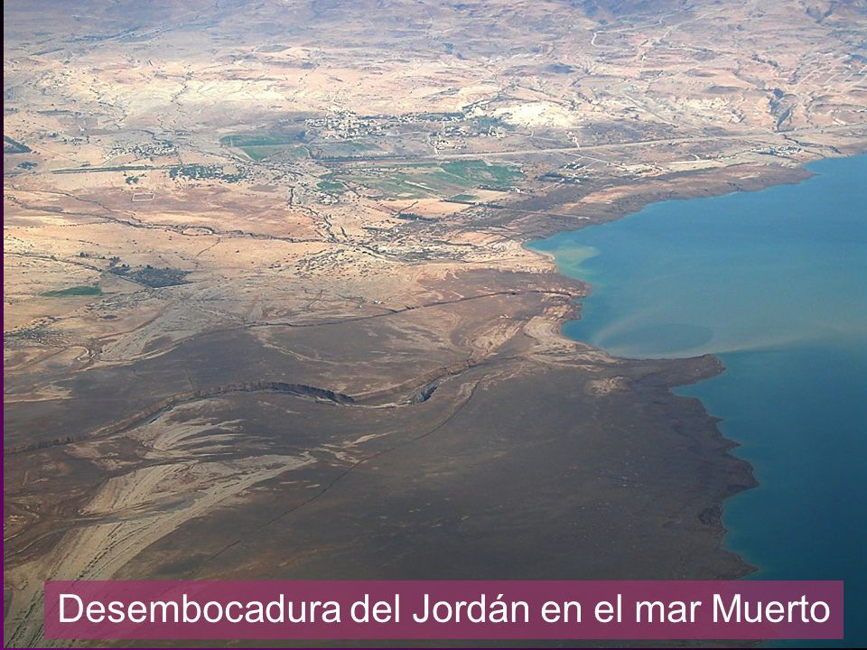 Jordan River entering Dead Sea aerial from west