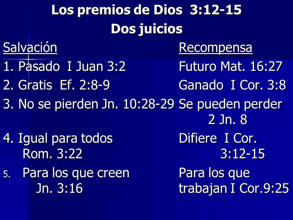 Los premios de Dios 3:12-15 Dos juicios. Salvación Recompensa. 1. Pasado I Juan 3:2 Futuro Mat. 16:27.