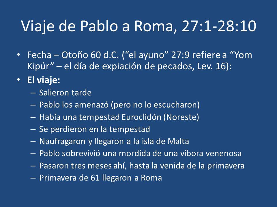 Viaje de Pablo a Roma, 27:1-28:10