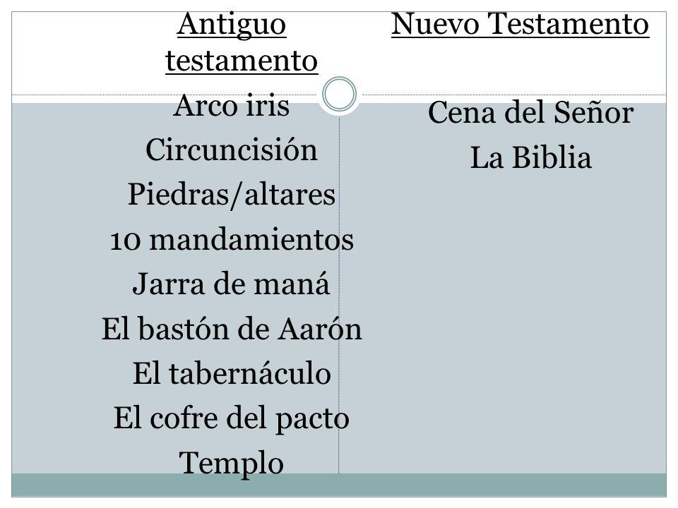Antiguo testamento Arco iris Circuncisión Piedras/altares 10 mandamientos Jarra de maná El bastón de Aarón El tabernáculo El cofre del pacto Templo