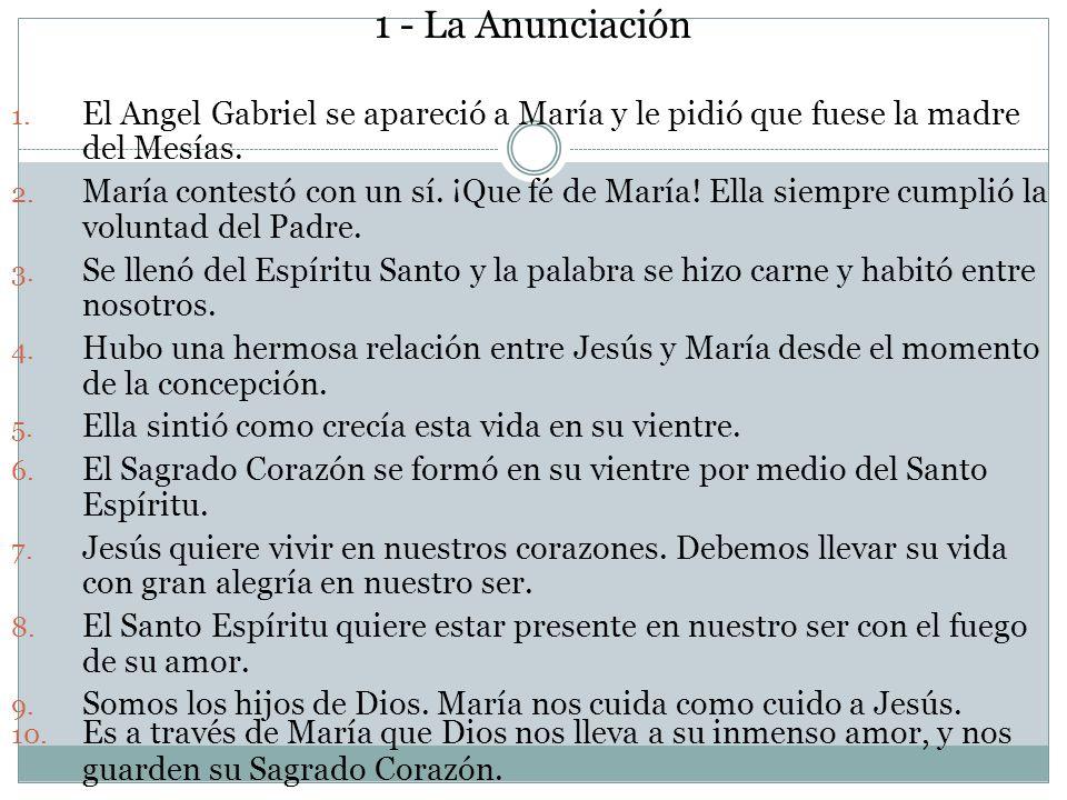 1 - La Anunciación El Angel Gabriel se apareció a María y le pidió que fuese la madre del Mesías.