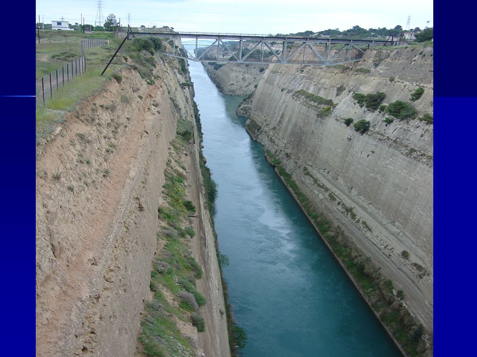 Corinth Canal from east with ship
