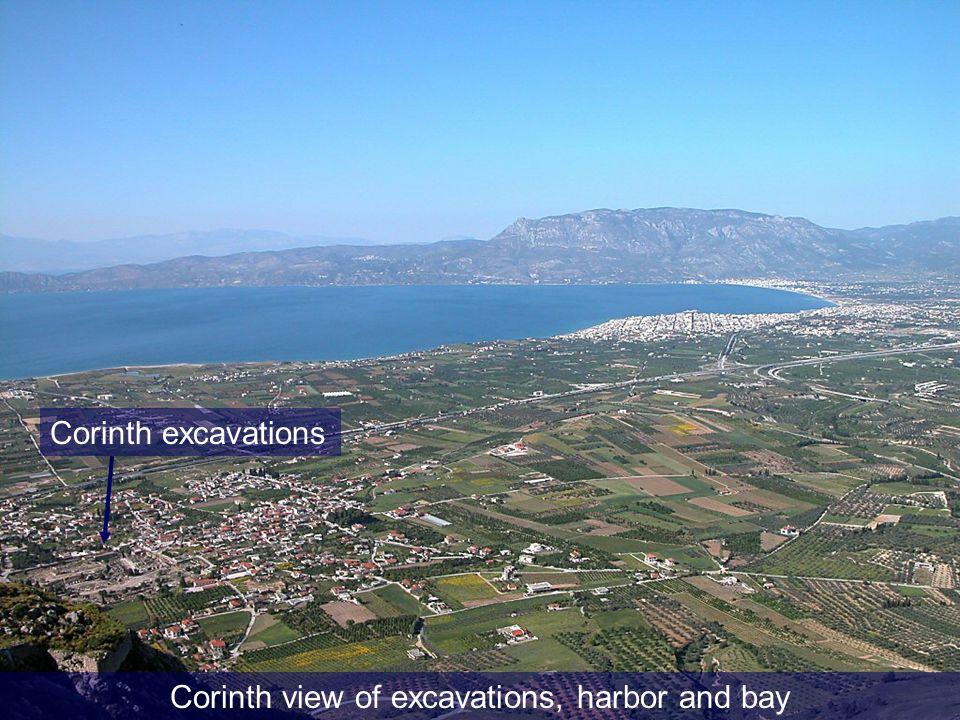 Corinth view of excavations, harbor and bay