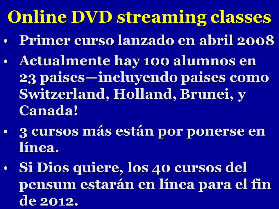 Online DVD streaming classes