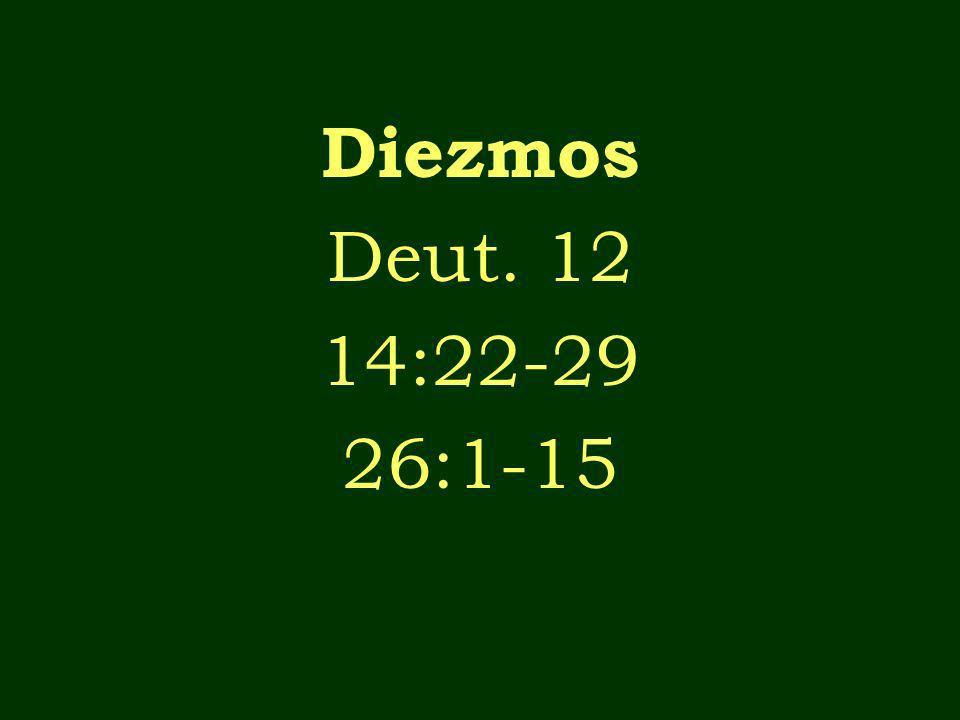 Diezmos Deut. 12 14:22-29 26:1-15
