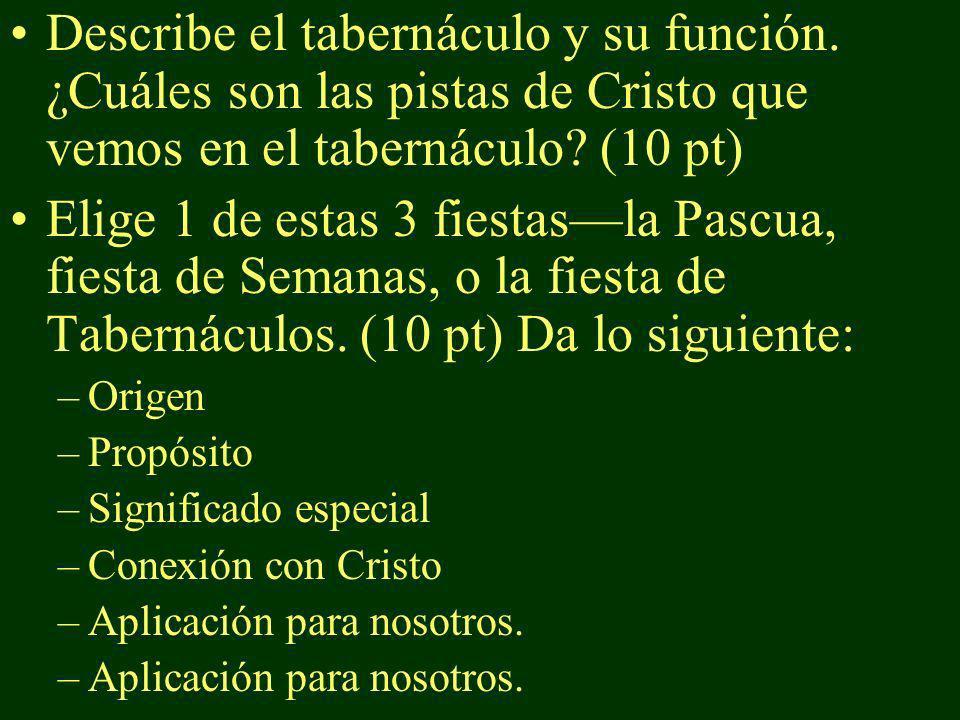 Describe el tabernáculo y su función