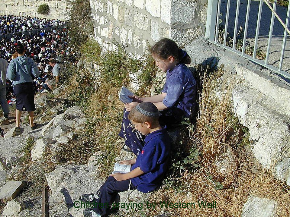 Children praying by Western Wall