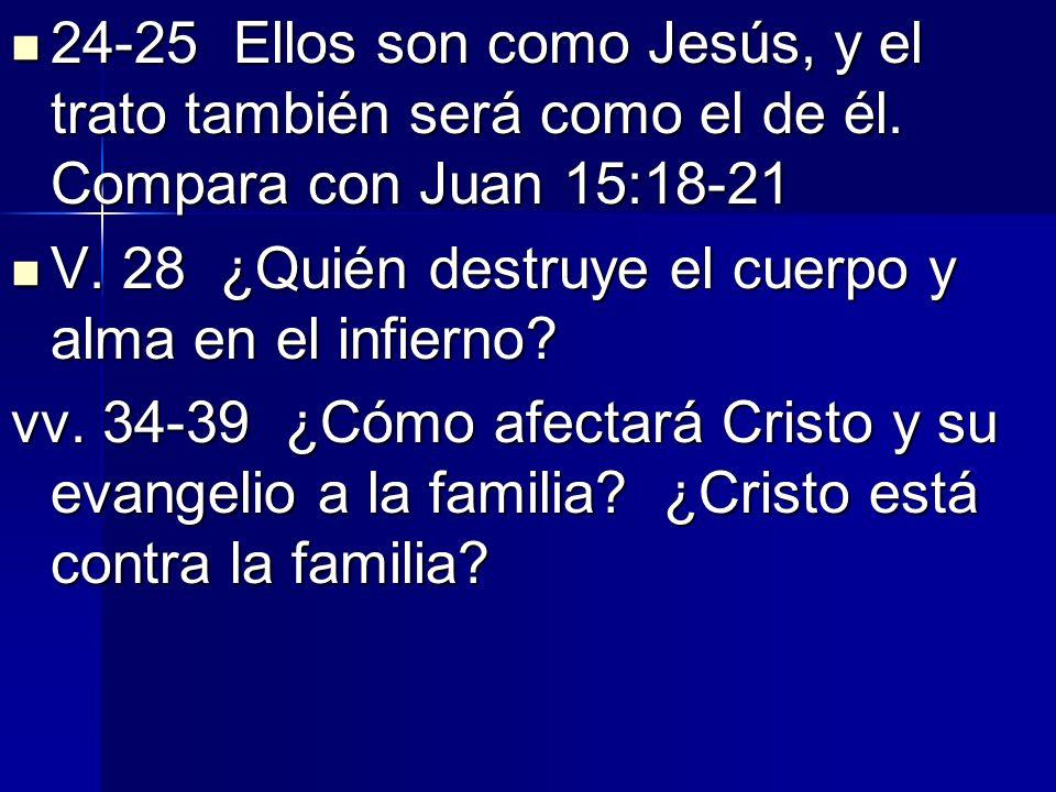 24-25 Ellos son como Jesús, y el trato también será como el de él