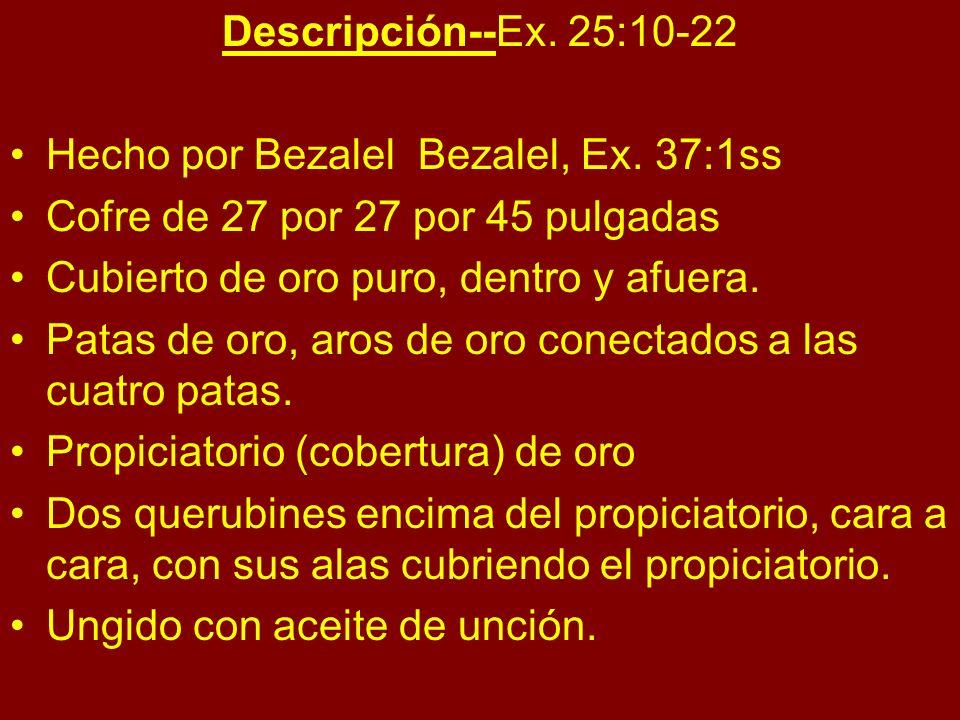 Descripción--Ex. 25:10-22 Hecho por Bezalel Bezalel, Ex. 37:1ss. Cofre de 27 por 27 por 45 pulgadas.