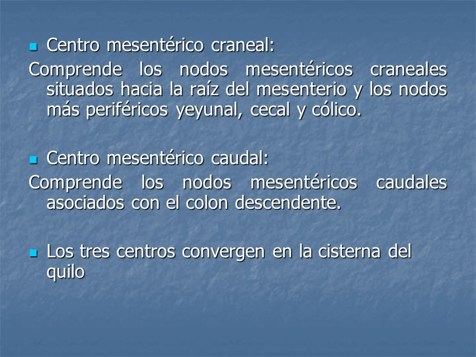 Centro mesentérico craneal: