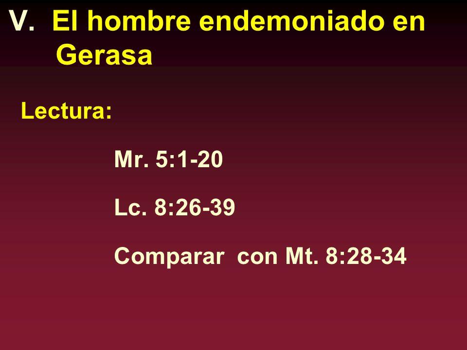 V. El hombre endemoniado en Gerasa