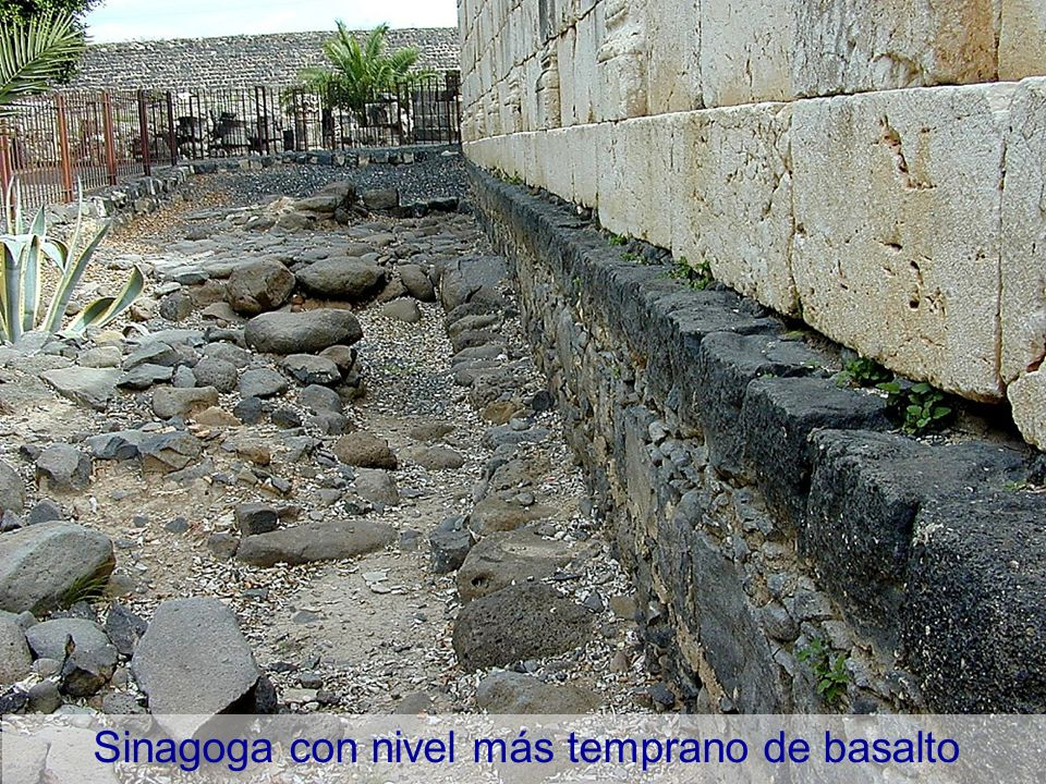 Capernaum synagogue with earlier basalt level