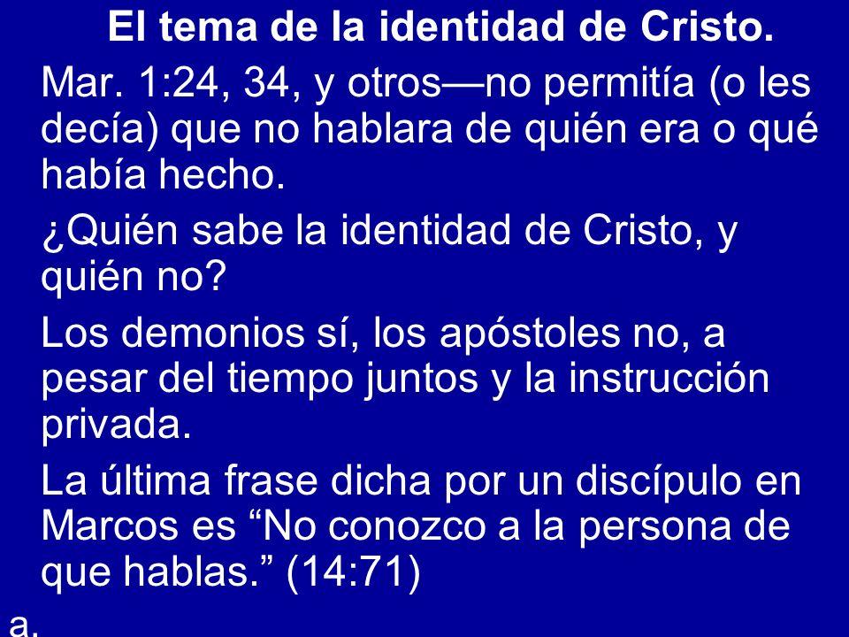 El tema de la identidad de Cristo.