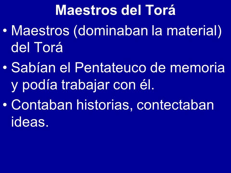 Maestros del Torá Maestros (dominaban la material) del Torá. Sabían el Pentateuco de memoria y podía trabajar con él.