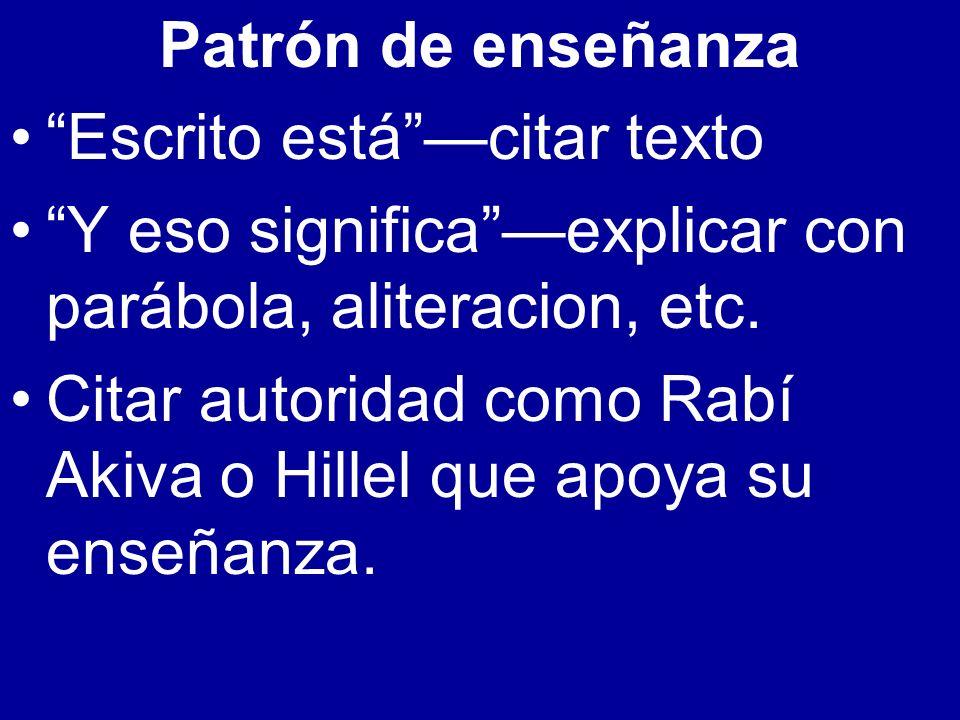 Patrón de enseñanza Escrito está —citar texto. Y eso significa —explicar con parábola, aliteracion, etc.