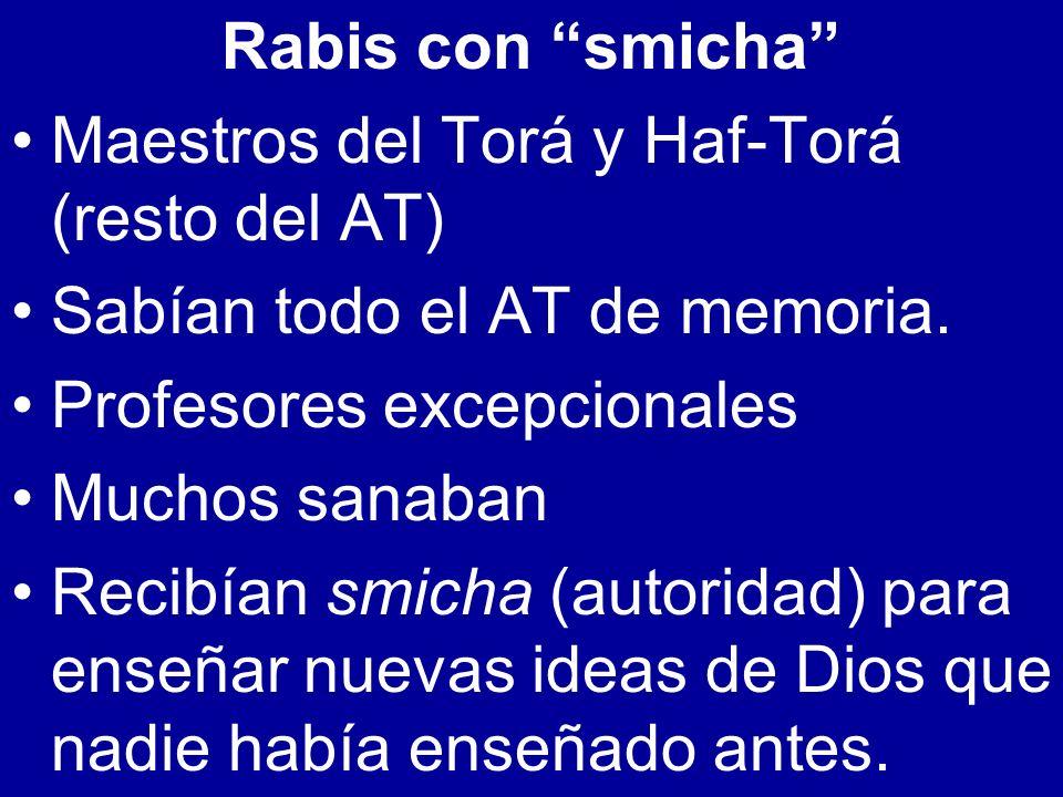 Rabis con smicha Maestros del Torá y Haf-Torá (resto del AT) Sabían todo el AT de memoria. Profesores excepcionales.