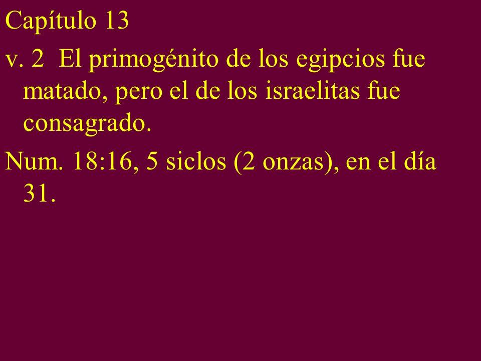 Capítulo 13 v. 2 El primogénito de los egipcios fue matado, pero el de los israelitas fue consagrado.