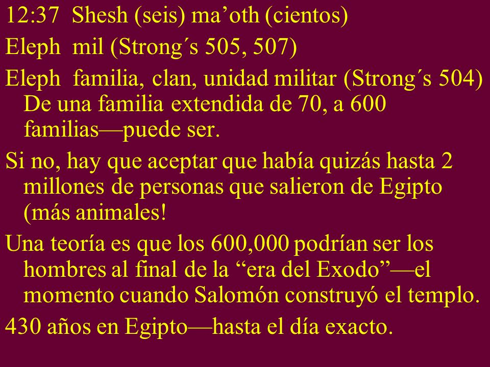 12:37 Shesh (seis) ma'oth (cientos)