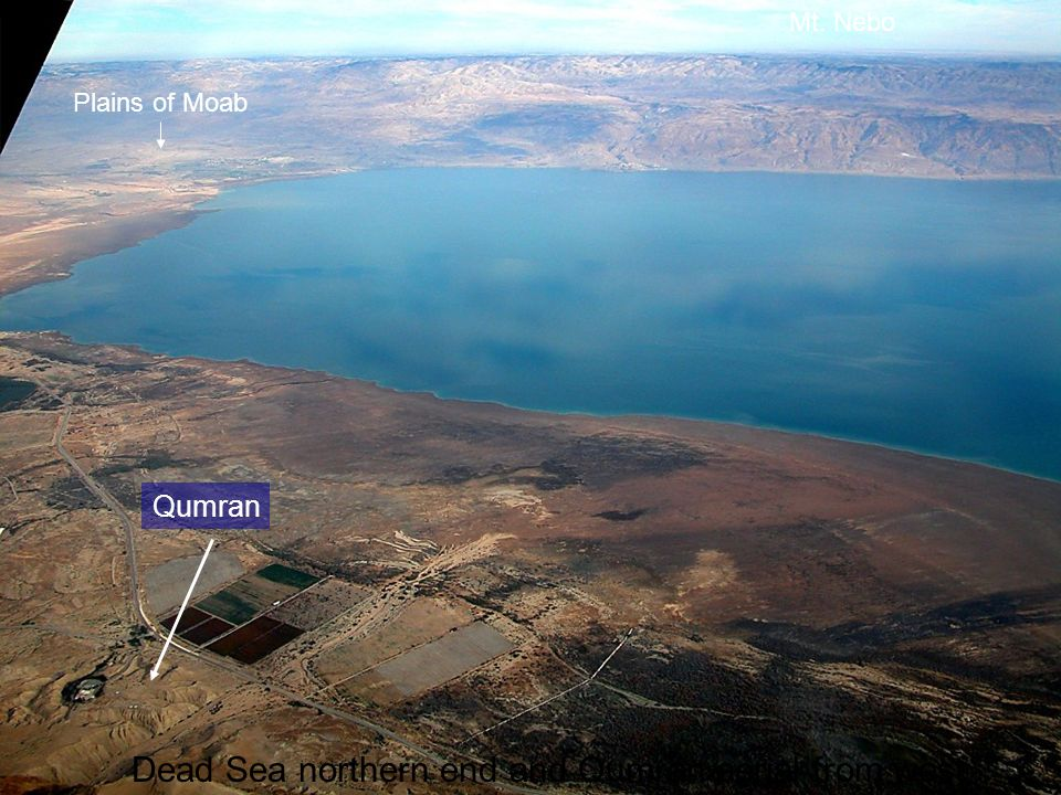Dead Sea northern end and Qumran aerial from west