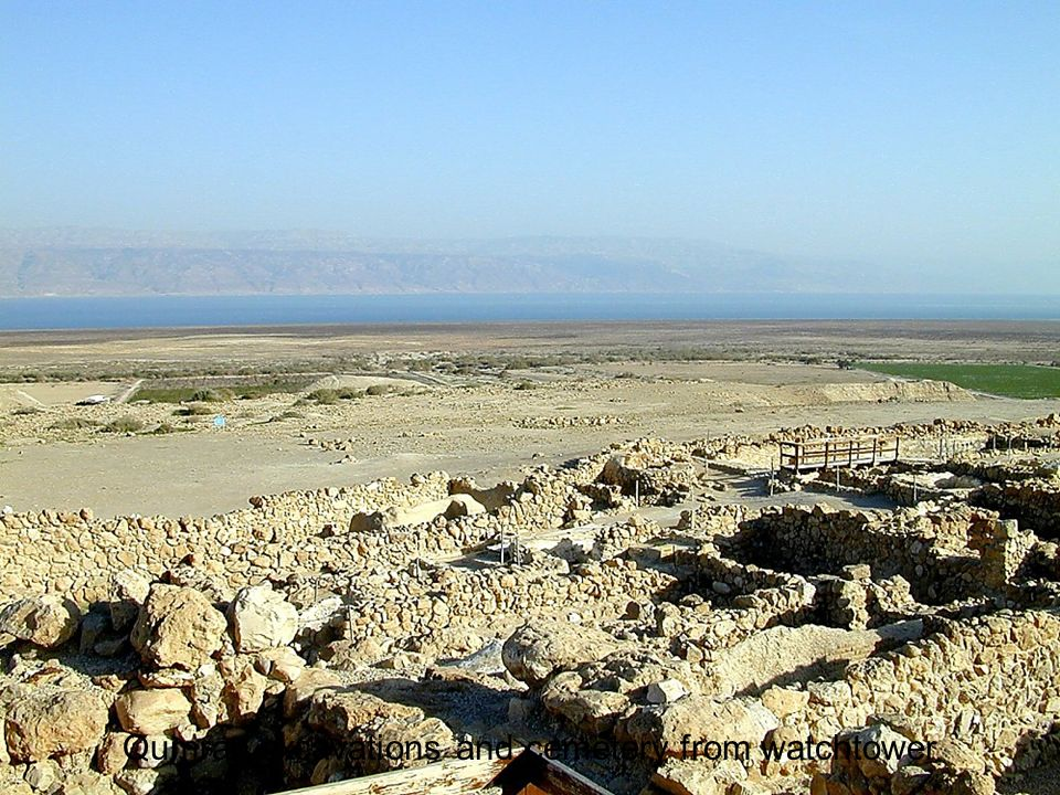 Qumran excavations and cemetery from watchtower